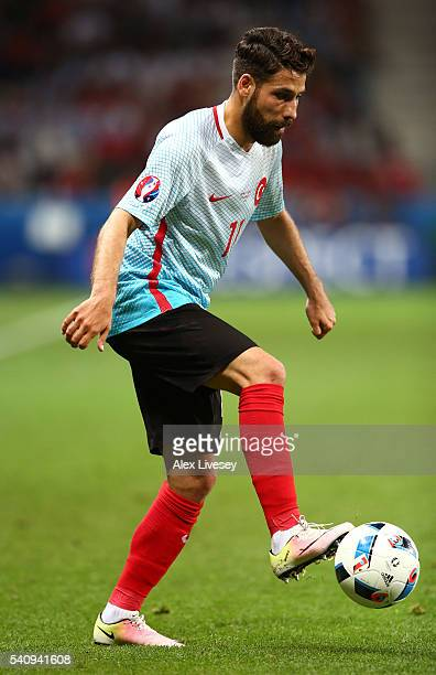 Olcay Sahan of Turkey in action during the UEFA EURO 2016 Group D match between Spain and Turkey at Allianz Riviera Stadium on June 17, 2016 in Nice,...