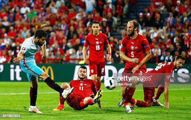 Olcay Sahan of Turkey shoots at goal during the UEFA EURO 2016 Group D match between Czech Republic and Turkey at Stade Bollaert-Delelis on June 21,...