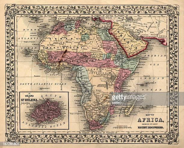 old 1800's map of africa - historical palestine stock pictures, royalty-free photos & images