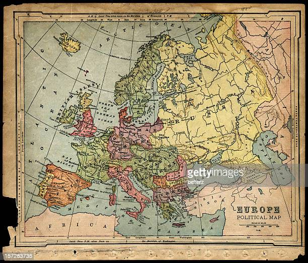 old 1800's political europe map - italy vs norwegian stock pictures, royalty-free photos & images