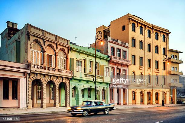 old 1950s car on havana street, cuba - old havana stock pictures, royalty-free photos & images
