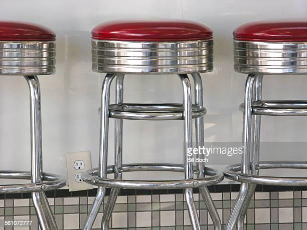 Old 1950's diner stools in diner