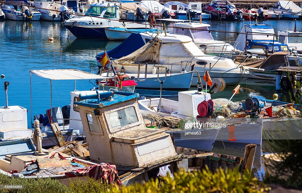 Old abandoned and broken boat fishing : Stock Photo
