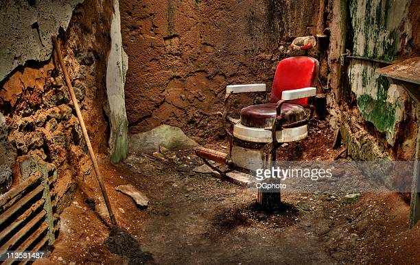 old abandoned barber chair - ogphoto stock pictures, royalty-free photos & images