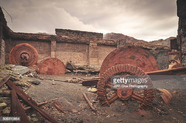 old abandoned equipment on white island - white island stock photos and pictures
