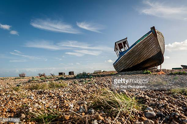 Old Abandoned Fishing Boat on the Shingle Beach, Dungeness, Kent, UK
