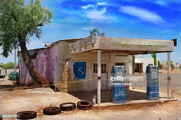 Old abandoned gas station in Arizona desert