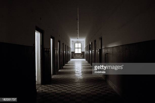 old abandoned prision corridor - spooky stock pictures, royalty-free photos & images