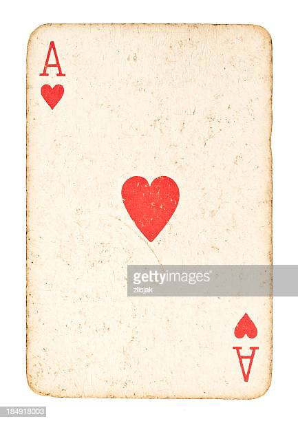 old ace of hearts isolated on white - hearts playing card stock photos and pictures