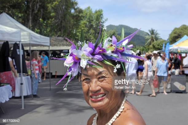 old age pacific islander woman smiles - rafael ben ari stock pictures, royalty-free photos & images