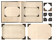 Old album book page photo frames corners isolated