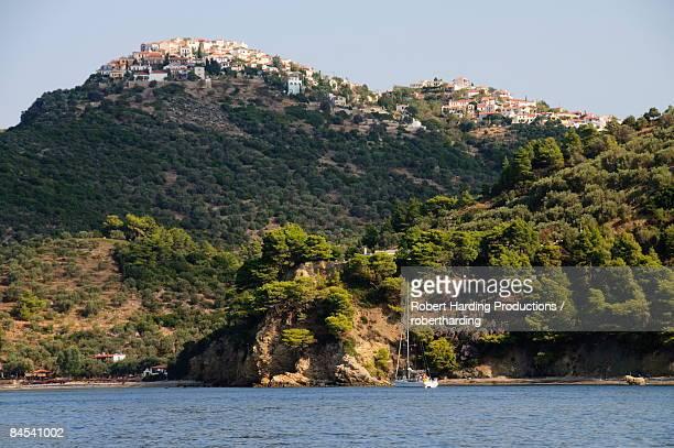Old Alonissos on hill, Alonissos, Sporades Islands, Greek Islands, Greece, Europe