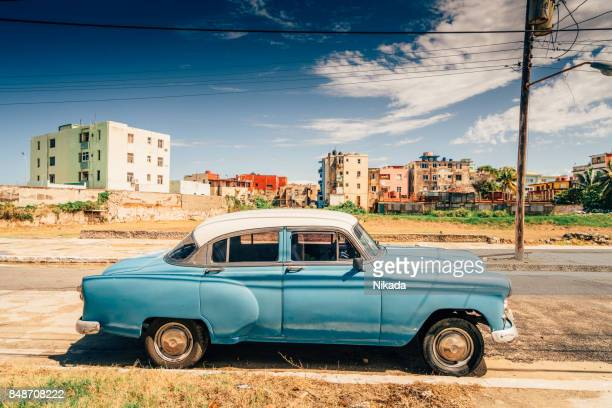 old american car on havana street, cuba - cuba 1950s stock photos and pictures