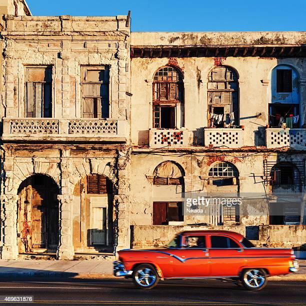 Old American car on Havana street