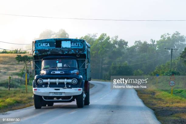Old American truck adapted for the intercity transportation of passengers The vehicle is a small business privately operated