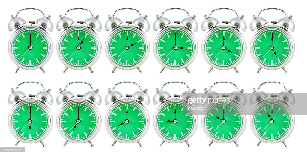 old analog clock with 24 hours : Stock Photo
