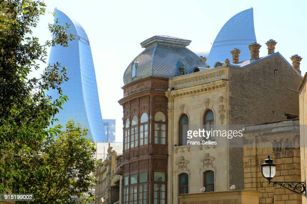 old and new architecture in baku, azerbaijan - baku stock pictures, royalty-free photos & images