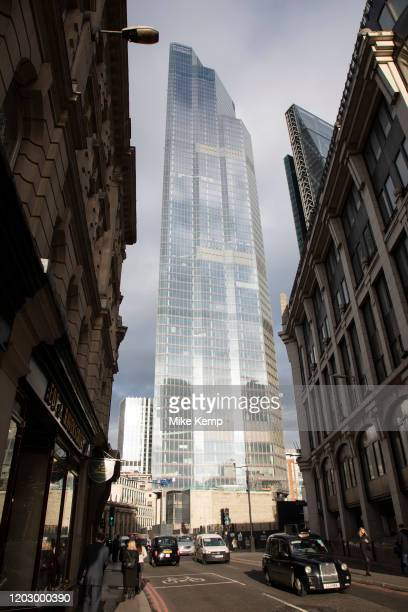 Old and new architecture in the City of London with older classical buildngs and the modernism of 100 Bishopsgate 16th January 2020 in London England...