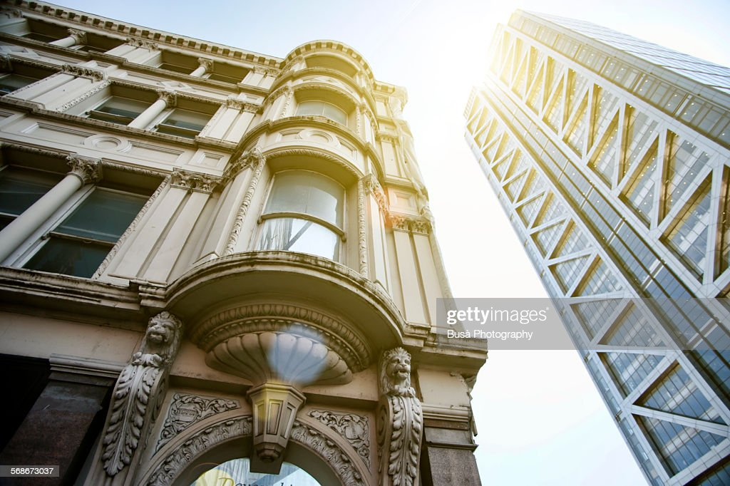 Old and new architectures in the City of London : Stock Photo