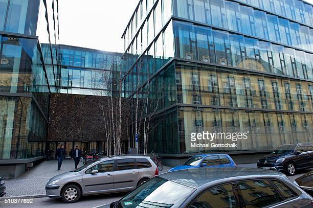 Old and New buildings of headquarters of Munich Re of Muenchner Rueckversicherung insurance company on February 15 2016 in Munich Germany
