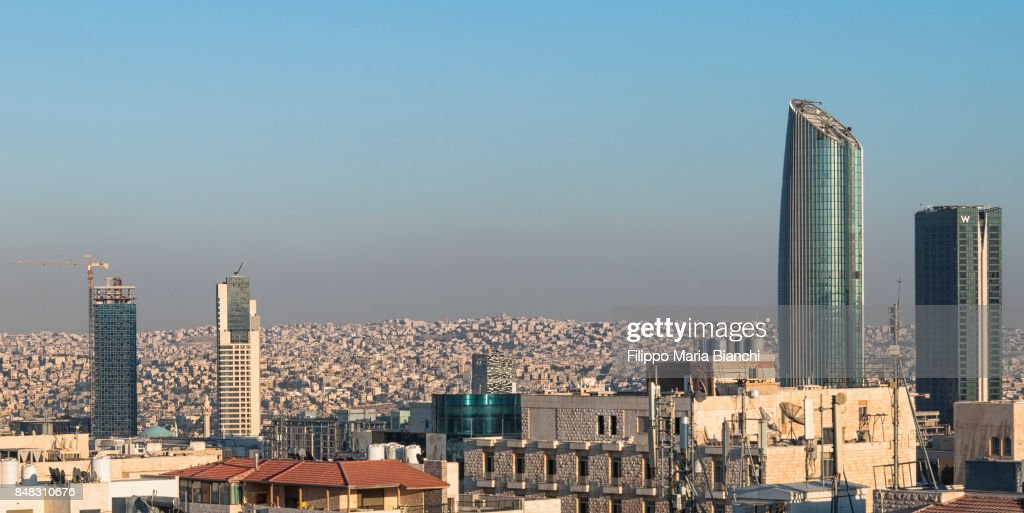Old and new in Amman : Stock Photo