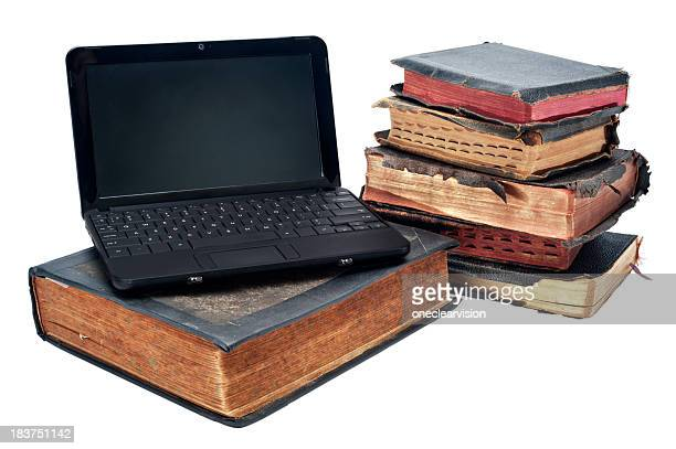 Old and New - Laptop with Books