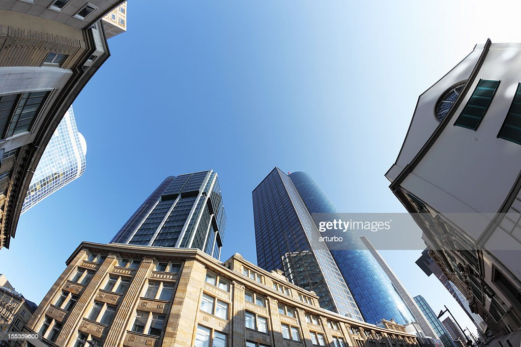 office building facades. old and new office building facades in frankfurt city : stock photo