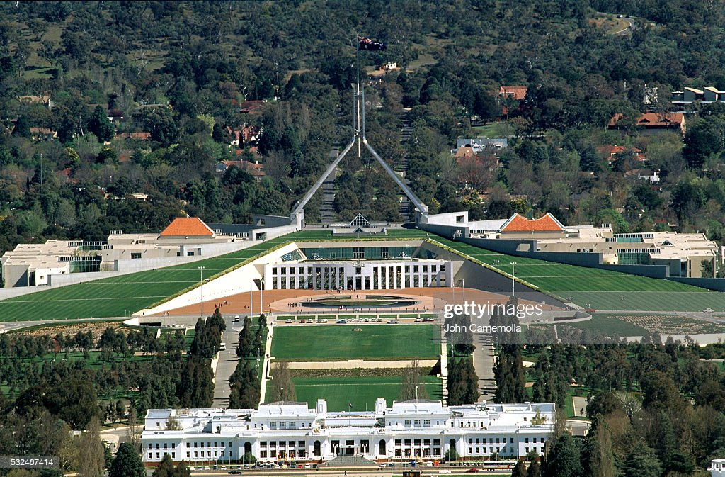 Old And New Parliament Houses In Canberra Stock Photo