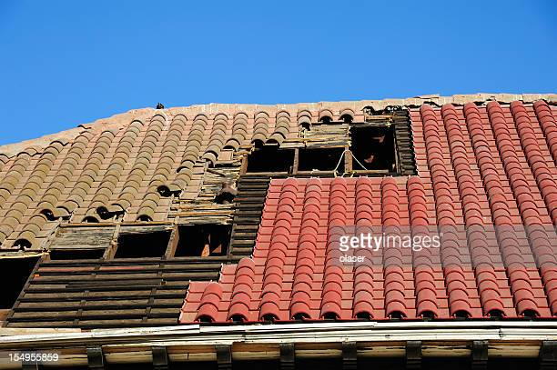 Old and new roof tiles
