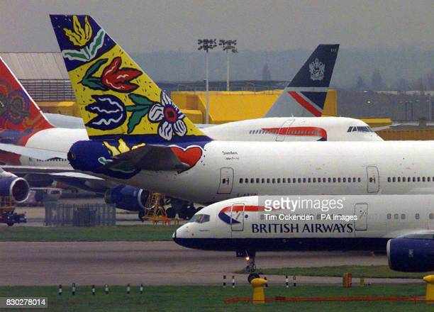 Old and new tail fin designs on British Airways aircraft at Heathrow Airport BA has been hit by a faltering public image since its Uturn in June over...