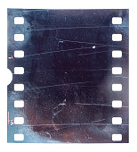old and vintage looking 35mm filmstrip or snip with scratches on white background