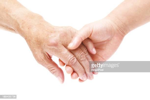 Vieja y jóvenes de manos