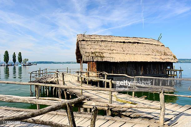 old antique wood house at lake constance summer - sonnig stock pictures, royalty-free photos & images