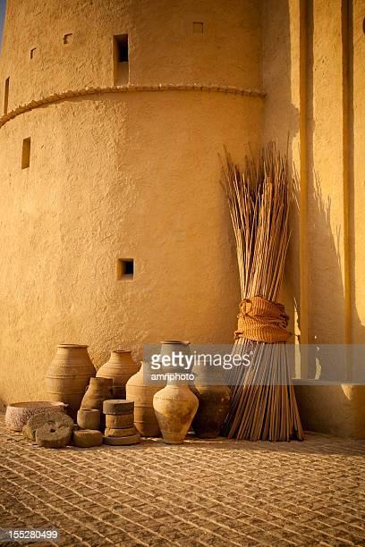 old arabic pots on cobblestones