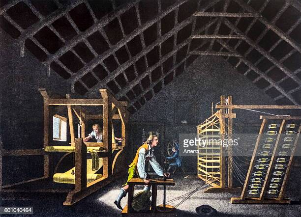 Old archival drawing of 18th century warping mill