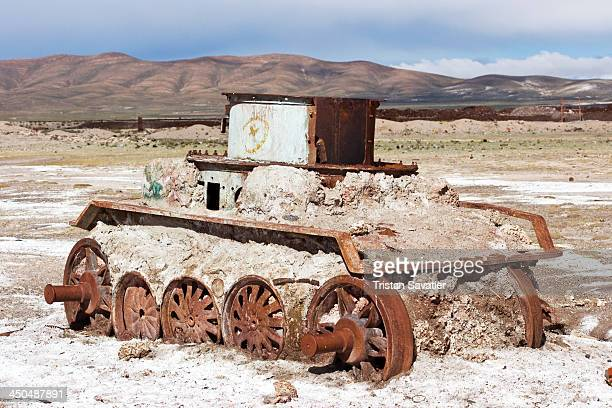 CONTENT] Old armored tank rusting in the steam engine train cemetery near Uyuni This looks like some sort of old rusted tank that was mounted on...