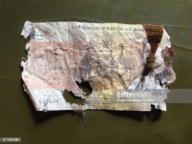 old australian one dollar banknote - ruined stock pictures, royalty-free photos & images