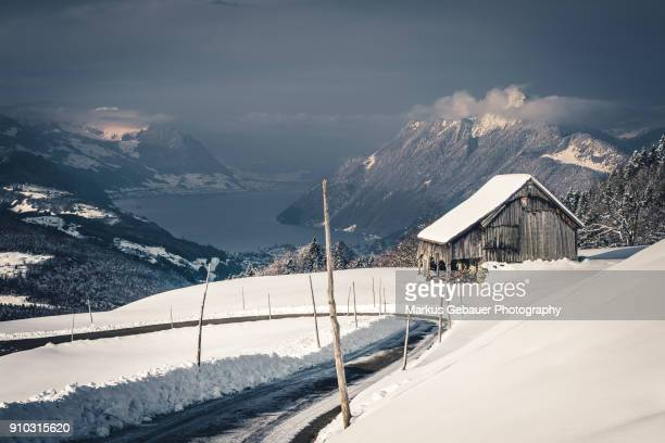 Old Barn in Snow Covered Mountains