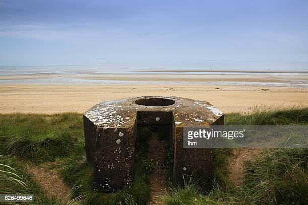 old base of a cannon near utah beach, d-day 1944, normandy/ france - utah beach stock photos and pictures