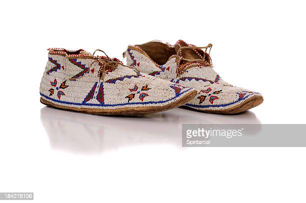old beaded moccasins - bead stock pictures, royalty-free photos & images