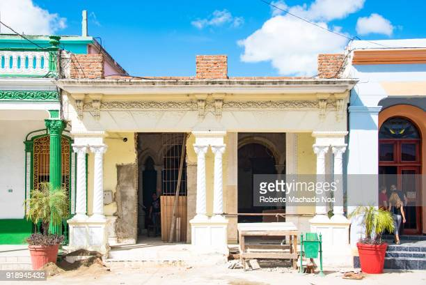 Old beautiful house under reconstruction after the economic changes in the Caribbean Island