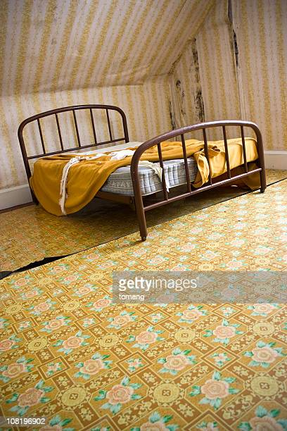 Old Bed with Sheets in Abandoned House