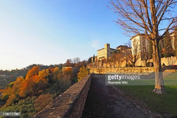old bergamo autumn mood seen from venetian walls - bergamo stock pictures, royalty-free photos & images
