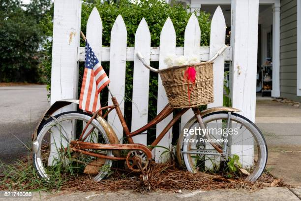 Old bicycle with American flag, Tennessee, USA