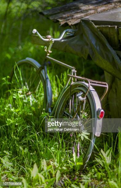 old bicycle without saddle leaning against