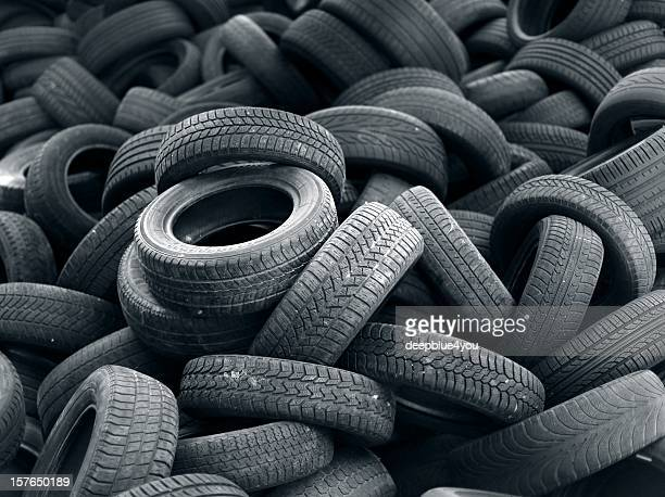 Old black car tire rubber