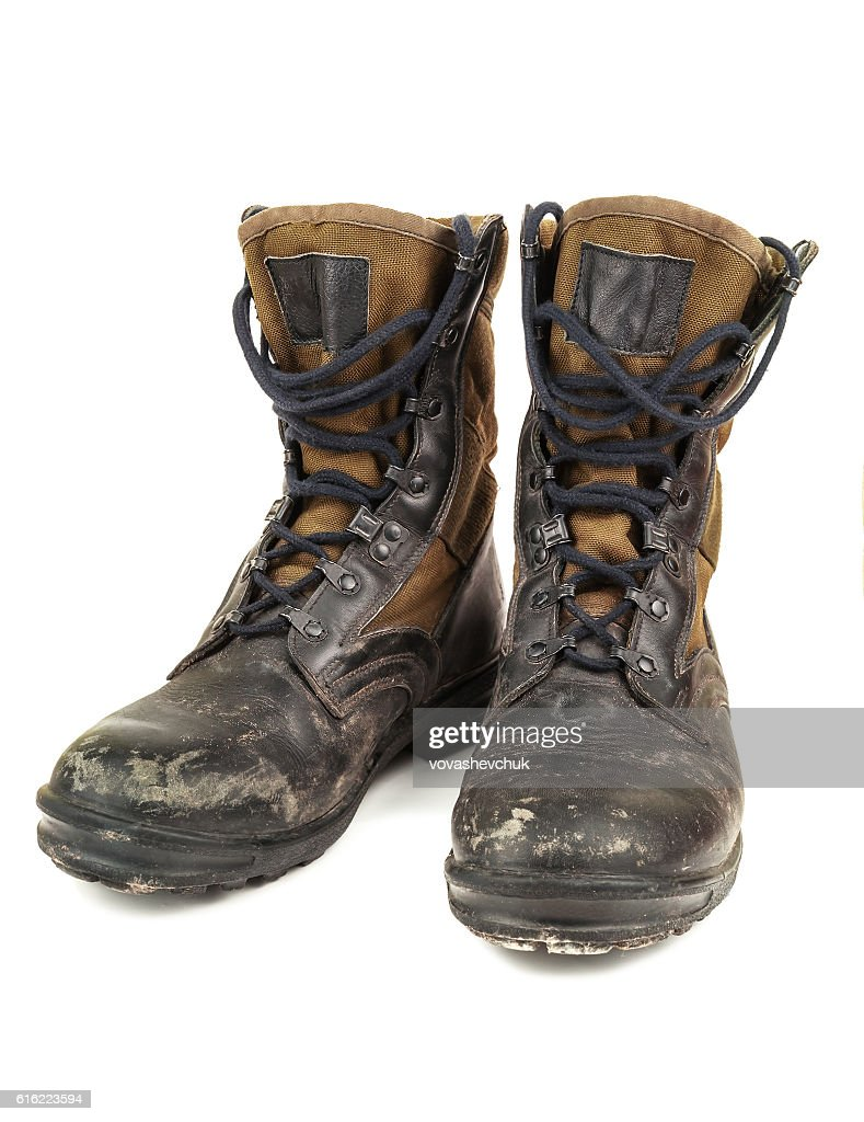 old black military boots : Stock Photo