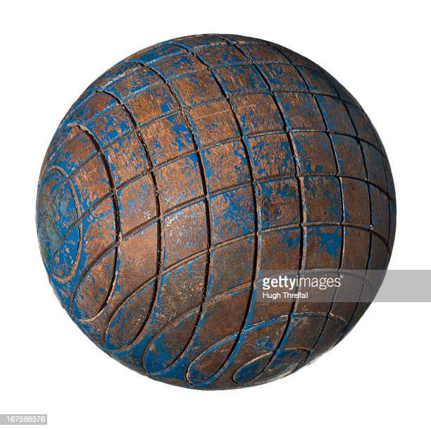 old blue croquet ball - hugh threlfall stock pictures, royalty-free photos & images