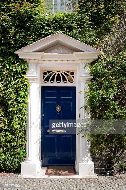 Old blue door mit fanlight