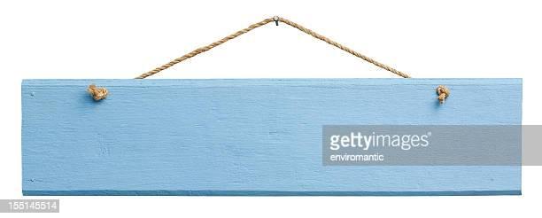 antiga placa azul de madeira envelhecida. - placa - fotografias e filmes do acervo